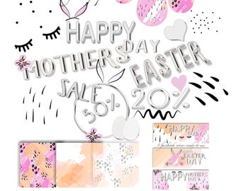 Easter, Mothers day, Bday, foil letters,clipart, facebook covers,digital papers