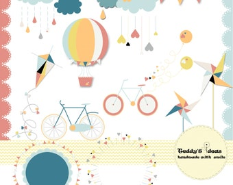 18 clip art elements, hot air ballon,pinwheel, bicycle, cloud,wreath, lace border, valentine clip arts