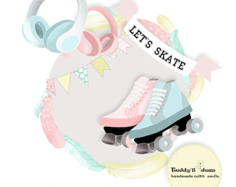 Skate clipart,feather clipart,girls and boys clipart, roller skate