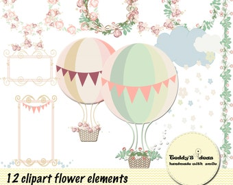 12 digital clipart's flowers and balloons, flower frame, hot air balloon ,flower wreath,flower cloud,flower board