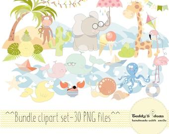 Bundle clipart, Combo clipart, animals clipart, nautical, exotic clipart