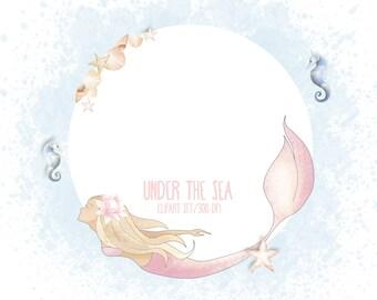 Under the sea clipart, nautical,sea horse clipart, starfish, mermaids