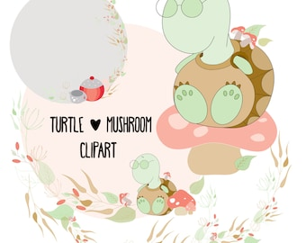 Turtle and mushroom clipart, Woodland clipart