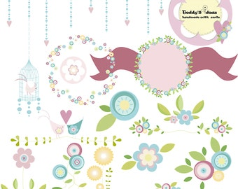 Flowers and bird's clip art, spring flowers wreath, flower clipart, bird clipart