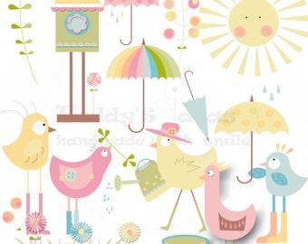 Spring clipart elements; Bird clipart; Easter clipart; Flower clipart
