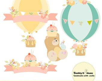 Birds, flowers, hot air balloon,bear,  birthday clipart