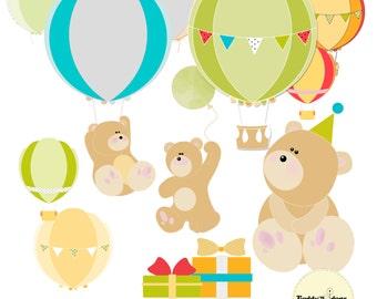 Birthday bear clip art, Hot air balloon clipart