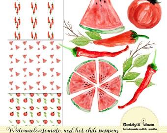 Watercolor Watermelon clipart, red hot chili pepper, tomato clipart