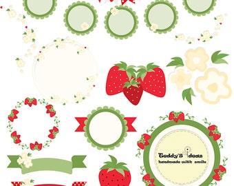 Strawberry clip art, flowers clip art, bunting clip art