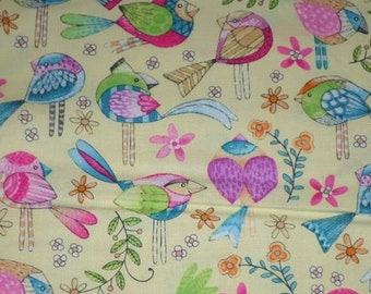 TWEET ME bright birds on yellow cotton fabric by the 1/2 yard, Michael Miller Fabric, 100% cotton fabric, colorful bird fabric!