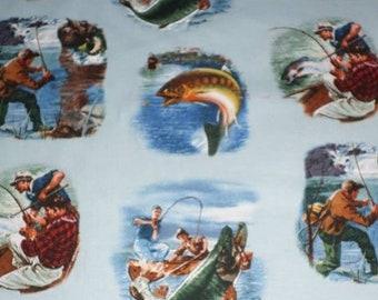 FISHING SCENES Sports Afield cotton fabric by the 1/2 yard, Elizabeth's Studio Fabric, 100% cotton fabric, angler fabric, fish fabric!