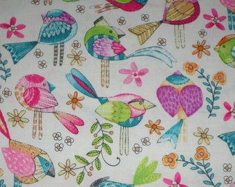 TWEET ME bright birds on white cotton fabric by the 1/2 yard, Michael Miller Fabric, 100% cotton fabric, colorful bird fabric!