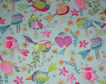 TWEET ME bright birds on light blue cotton fabric by the 1/2 yard, Michael Miller Fabric, 100% cotton fabric, colorful bird fabric!