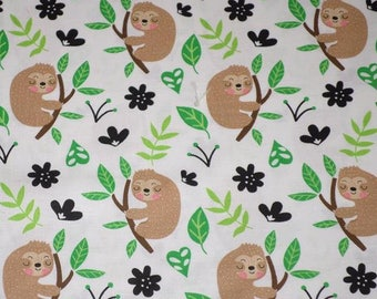 SLOTHS ON BRANCHES cotton fabric by the yard, fq+, Timeless Treasures, 100% cotton fabric, animal fabric, exotic animal fabric!