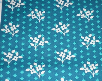 SWEETIE FLOWERS on TURQUOISE cotton fabric by the 1/2 yard, Michael Miller Fabric, 100% cotton fabric, white flower fabric, floral fabric!