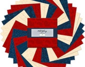 OLD GLORY PATRIOTIC 5 quot squares charm pack, 42 piece set of 5 Karat Gems, Wilmington Prints, cotton fabric, patriotic fabric, usa fabric