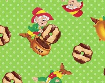 KEEBLER ELF fudge stripe cookie cotton fabric by the 1/2 yard, chocolate fabric, novelty fabric, food fabric, Springs Creative fabric!