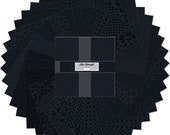 BLACK AFTER MIDNIGHT layer cake 10 quot squares, 42 piece set of 10 Karat Gems, Wilmington Prints, 100 cotton fabric, black tone on tone fabric