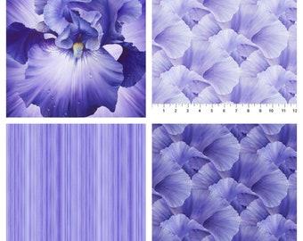 LUSH IRIS FLOWER panel and flower petal coordinates cotton fabric, Northcott fabric, 100% cotton fabric, iris flower fabric, purple floral!