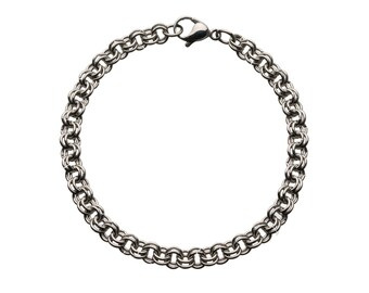 "Single Mesh Row Stainless Bracelet for Charms  for ""Snap-On"" Charms"