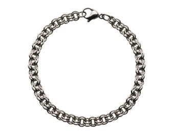 "Single Mesh Row Stainless Steel  Bracelet for Charms for ""Snap-On"" Charms"