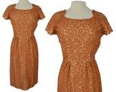Vintage 50s Dress 50s Orange Satin Lace Brocade Wiggle Cocktail Pin Up Dress Medium M