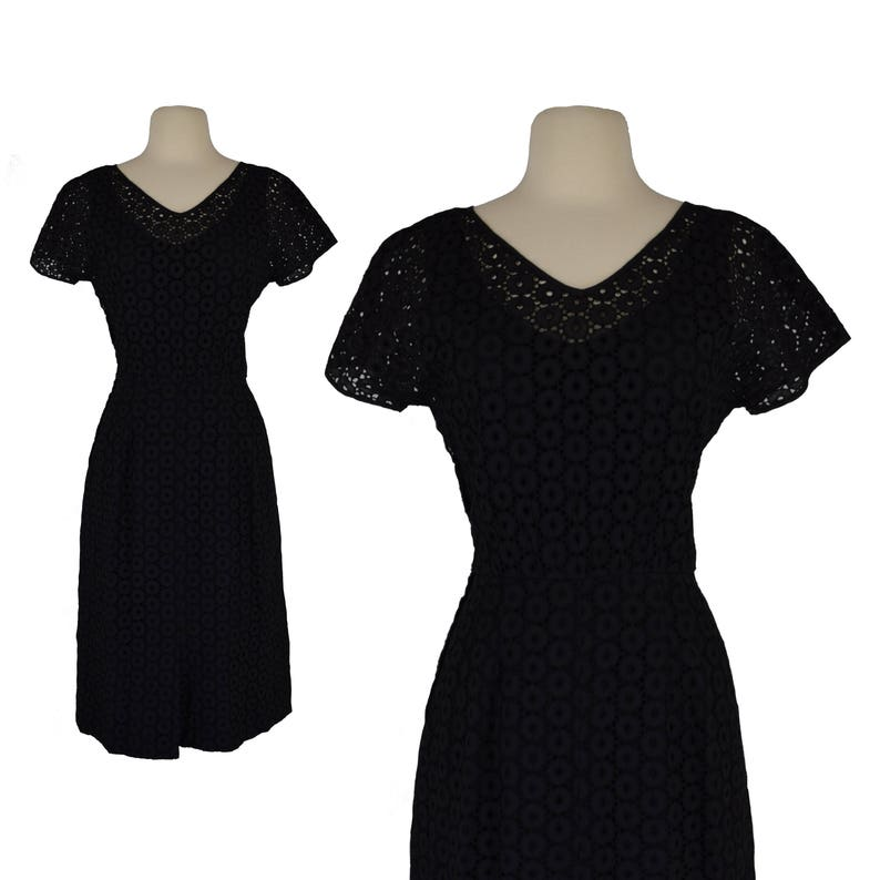 5703afd54a66 Vintage 50s Wiggle Dress 50s Black Eyelet Sexy A Line Pinup