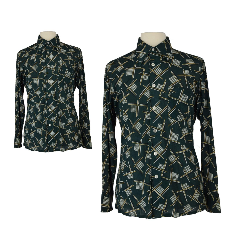Vintage 70s Disco Shirt 70s Arrow Mens Green Geometric Etsy