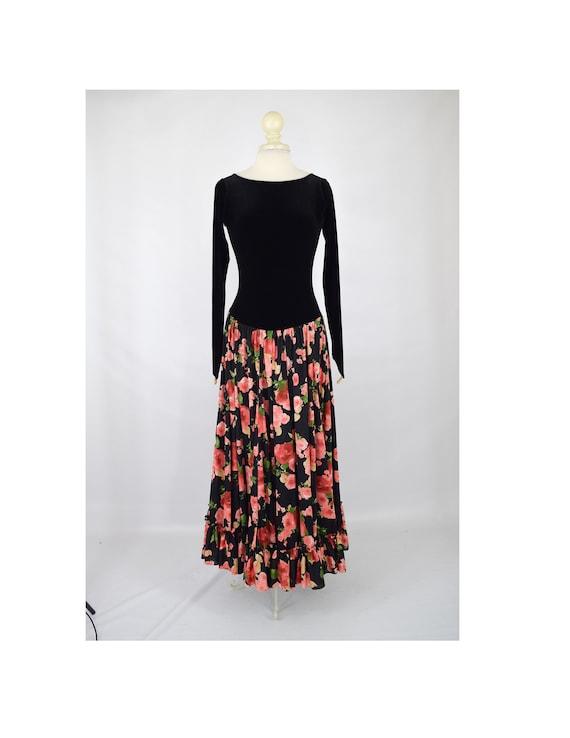 90s Floral Print Dress Large 1990s