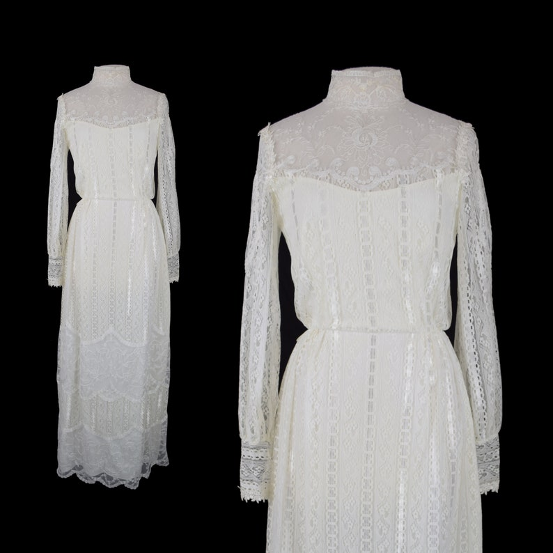 85ee4a79b2 Vintage 70s Boho Wedding Dress 70s Alfred Angelo Ivory Lace | Etsy