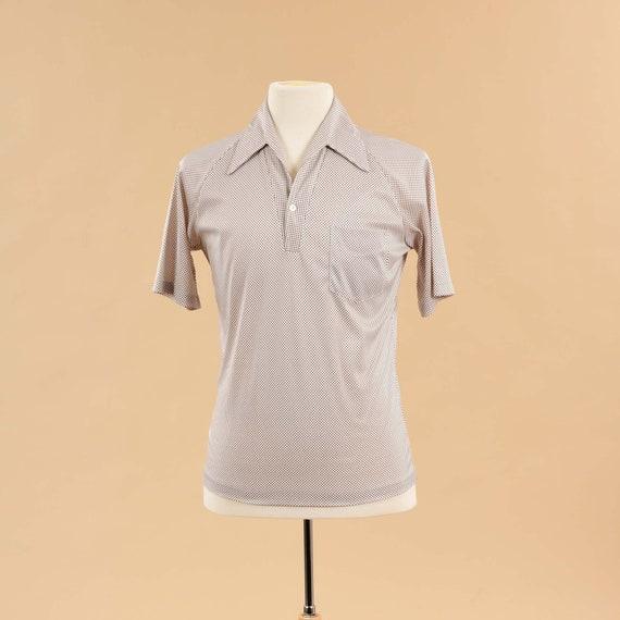 Vintage 1980s Mens Polo Shirt | 80s Beige Tan Pol… - image 1