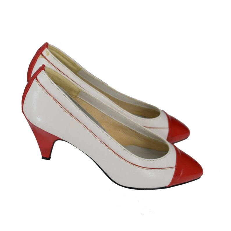 35f7005cecd65 Vintage 80s Pumps | 80s 2727 Collection Red White Pointed Toe Pumps | 6.5 |  6 1/2