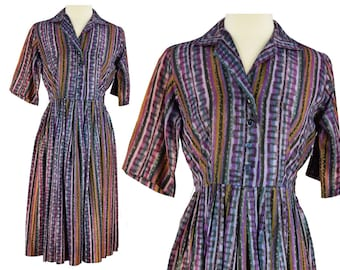 50s Day Dress, 1950s Purple Shirt Dress, Purple Rockabilly Dress, 50s Fit & Flare Dress, Swing Dress, Short Sleeve, Large Size 12/14