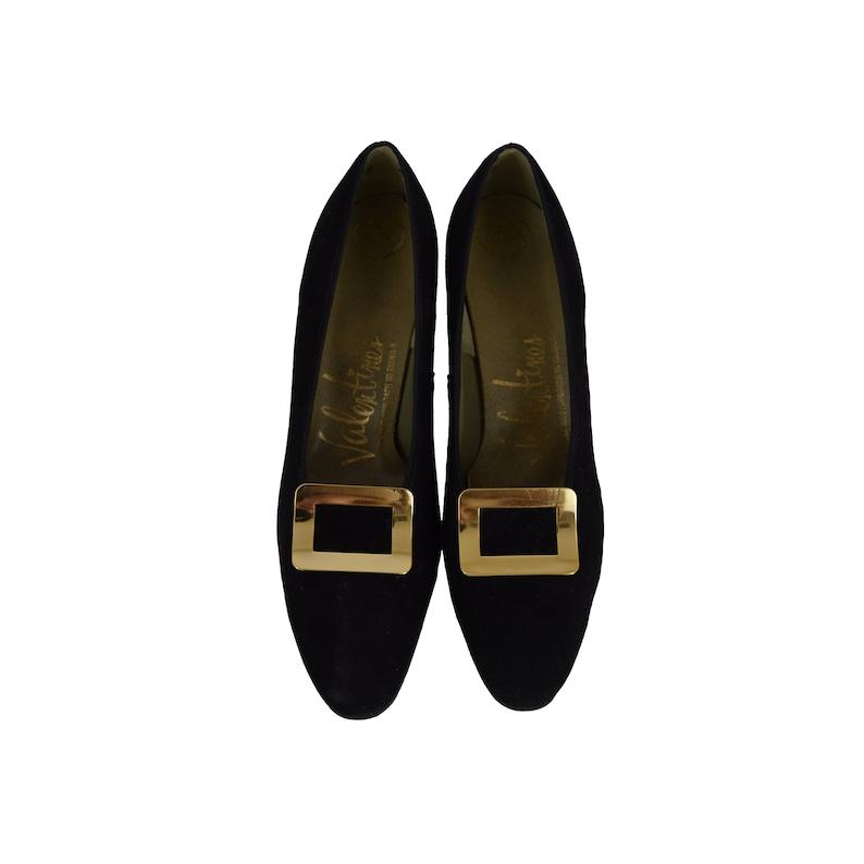 d12b3567dbe Vintage 60s Kitten Heels 60s Valentines Black Velvet Gold