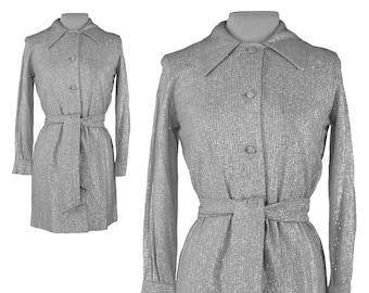 70s Micro Mini Dress, 1970s Silver Disco Dress, Metallic Silver Dress, Shirt Dress, Belted Mini Dress, Long Sleeve Mini Dress, Medium 8/10
