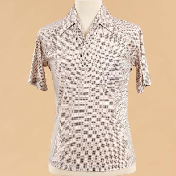Vintage 1980s Mens Polo Shirt | 80s Beige Tan Pol… - image 2