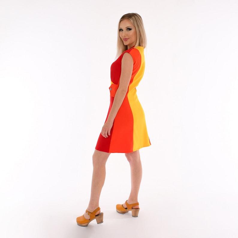 Plus Size Retro Dresses 50s, 60s ,70s, 80s, 90s 60s Sunrise Color Block Mod Dress | Red Orange Yellow Sleeveless Mini Dress | Vintage Style Mod Sheath Dress | Dorothy Zudora Sizes 00-18 $175.00 AT vintagedancer.com
