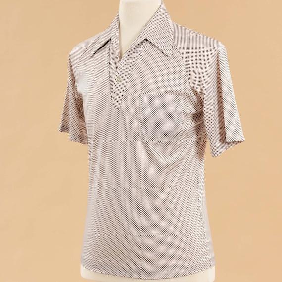 Vintage 1980s Mens Polo Shirt | 80s Beige Tan Pol… - image 3