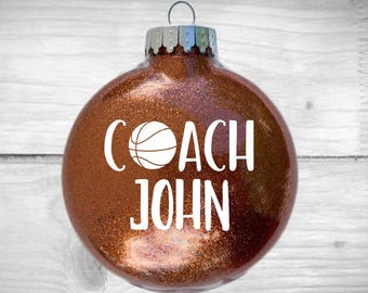Personalized Coach Glitter Ornament - Custom Gift Soccer | Basketball | Football | Swim | Volleyball | LARGE or Regular Size