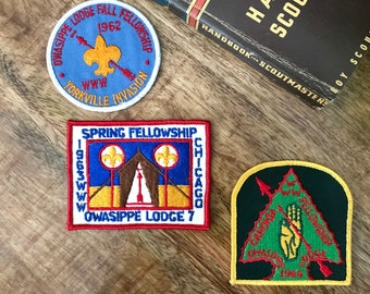 Vintage Boy Scout Patches from early 1960's.  All Order of the Arrow patches, various designs, 1962-1964 Unused and in Excellent Cond