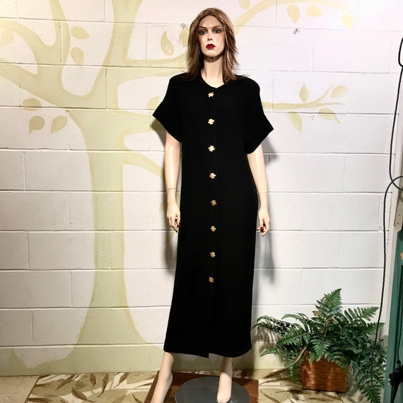 1980s Maxi Dress/Black Frabrikant Knit/Size M Midi