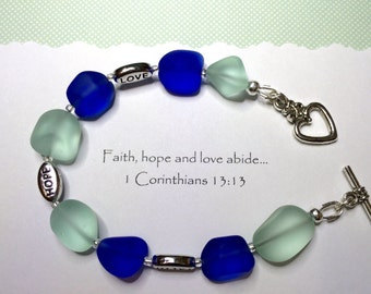 Inspirational bracelet - 1 Corinthians 13 - Faith Hope Love - Meaningful gift. Bible verse bracelet - Confirmation gift