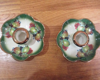 mayfayre staffordshire pottery candle sticks . candle holders pair ref 4