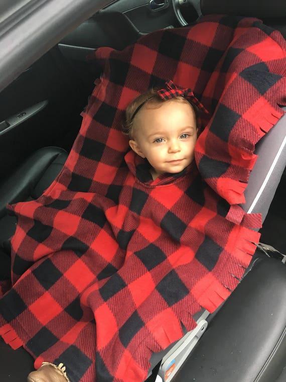 Car Seat Poncho Buffalo Plaid Baby Blanket