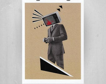 The Broadcast. A4 print of Original collage. Art Illustration Collage Design Quirky Fun Gift Home Decor.