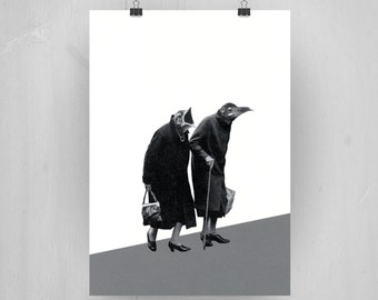 A pair of old birds. A5 Print of original collage. Art Illustration Design Quirky Fun Gift.