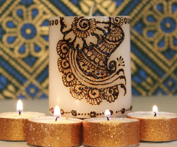 Decorative Candles Moroccan Decor Boho Decor Henna Candles Etsy