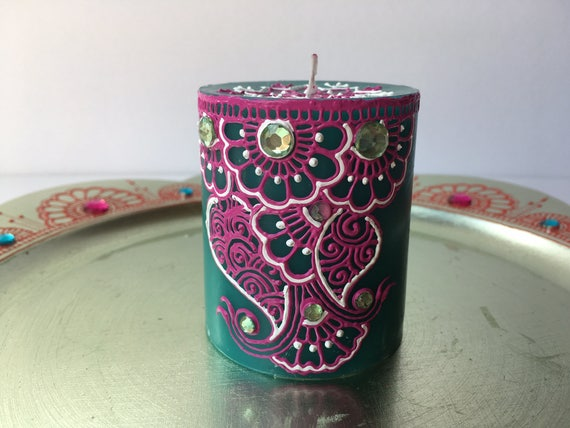 Blue Green Scented Henna Candle Wedding Favor Henna Party Etsy