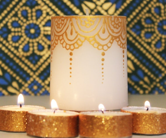 Gold Painted Henna Design Candle Wedding Favors Henna Party Etsy