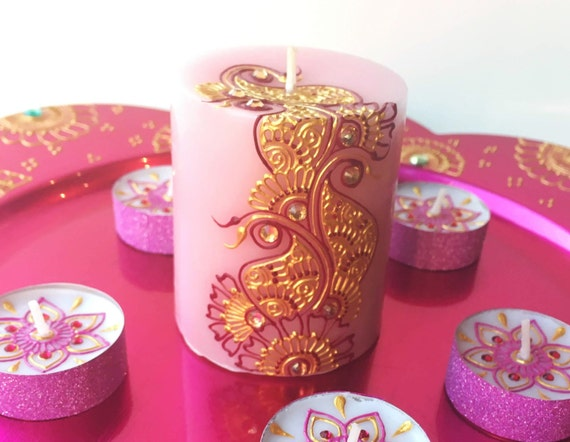 Pink Scented Henna Candle Wedding Favors Henna Party Favors Etsy